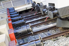 Train buffers. Row of train buffers in a train station as a concept of stop Royalty Free Stock Photos