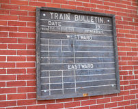 Train Bulletin. Vintage Train Bulletin royalty free stock photo