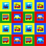 Train, Bus, Car and Fire truck children seamless pattern. 