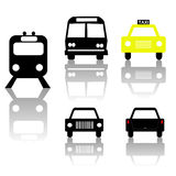 Train bus car and taxi silhouettes Royalty Free Stock Photography