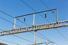 Train cable. With clear blue sky Stock Photos