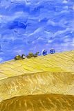 Train of camels goes through the desert. royalty free illustration