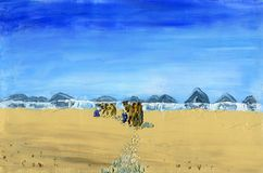 Train of camels goes through the desert. Sunny and windy day time. Mirage on the horizon. Oil Painting on Canvas Stock Photos