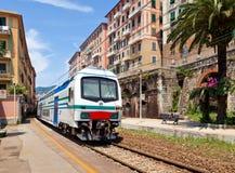 Train in Camogli. Italy Stock Photo