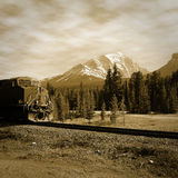 Train in Canadian rockies. Stock Photos