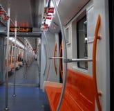 Train car. Empty underground train car. Shanghai, China Royalty Free Stock Image