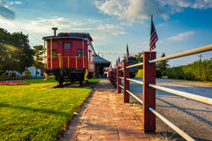 Train car outside the train station in New Oxford, Pennsylvania. Royalty Free Stock Photo