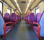 Train car seat. Sitting in an electric train, Portugal Stock Photo