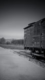 Train car on tracks, Birkenau Concentration Camp, Poland Stock Images