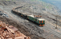 The train in career. Of iron ore stock photography