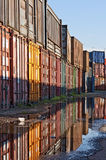 Train cargo container. S. Old metal transport containers on the dock Royalty Free Stock Images