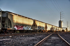 Train cargo with graffiti. Royalty Free Stock Photo