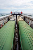 Train on the cargo vessel. Train loaded on the cargo vessel on the sea Stock Photography