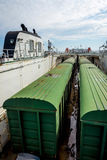 Train on the cargo vessel. Train loaded on the cargo vessel on the sea Royalty Free Stock Photos