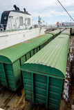 Train on the cargo vessel. Train loaded on the cargo vessel on the sea Royalty Free Stock Images