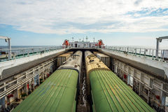 Train on the cargo vessel. Train loaded on the cargo vessel on the sea Royalty Free Stock Image