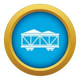 Train cargo wagon icon blue vector isolated royalty free illustration