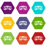 Train cargo wagon icon set color hexahedron. Train cargo wagon icon set many color hexahedron isolated on white vector illustration Royalty Free Stock Photo