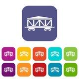 Train cargo wagon icons set Royalty Free Stock Photos