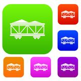 Train cargo wagon set collection Royalty Free Stock Photo