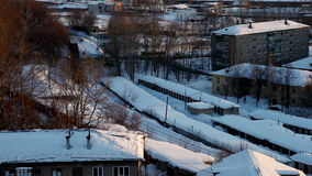 Train with cargo in winter city stock footage