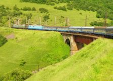 Train in Carpathian mountains Royalty Free Stock Photos