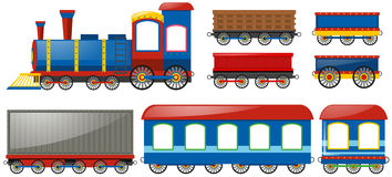 Train and carraige carts on white Stock Photos