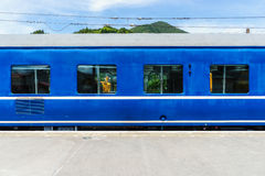 Train carriage. Blue train carriage at the station Royalty Free Stock Photos