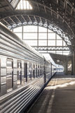 Train carriage close-up. Departure on train station. Stock Image