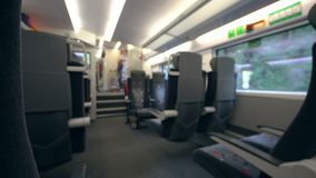 Train Carriage Interior. Soft focus. Long shot stock video