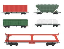 Train carriages car railway without striping travel railroad passenger locomotive vector wagon transport. Stock Images