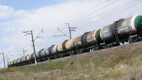The train carries the tank with oil. Russia stock footage