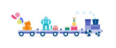 Train carries toys. Gifts for holidays to children vector illustration