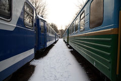 Between train cars Stock Images