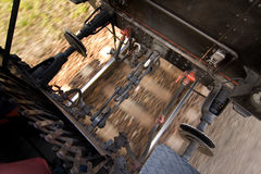 Between the train cars. A view between the trains riding on a track Stock Image