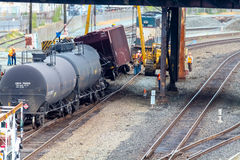 Train Cars Carrying Oil Derailed Royalty Free Stock Photos
