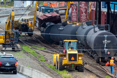 Train Cars Carrying Oil Derailed Royalty Free Stock Photo