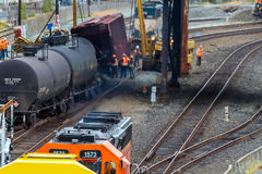 Train Cars Carrying Oil Derailed Stock Image