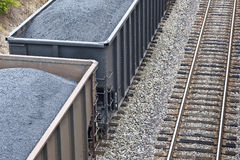 Train Cars Loaded With Coal Next to More Tracks Royalty Free Stock Photos