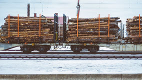 Train Cars With Logs on Tracks Stock Photo