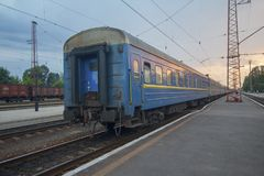 Train cars at the railway station. Transport Royalty Free Stock Photo