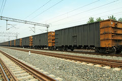 Train cars in the railway track Royalty Free Stock Photo