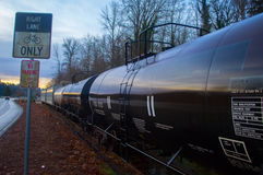 Train cars sitting on tracks Royalty Free Stock Photography