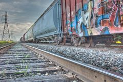 Train Cars and track Stock Images