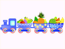 Train with cartoon fruit Stock Images