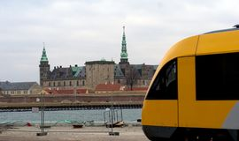Train and castle Stock Photo