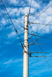 Train catenary and power line cables Stock Photography