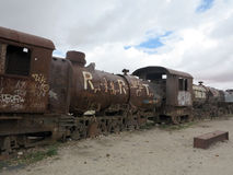 Train cemetary, uyuni, bolivia Royalty Free Stock Photo