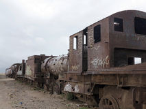Train cemetary, uyuni, bolivia Royalty Free Stock Photos