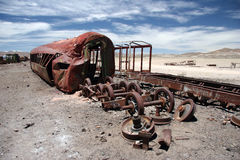 Train cemetery. Pollution problems with obsolete train cemetery in desert. Uyuni. Bolivia Royalty Free Stock Photo